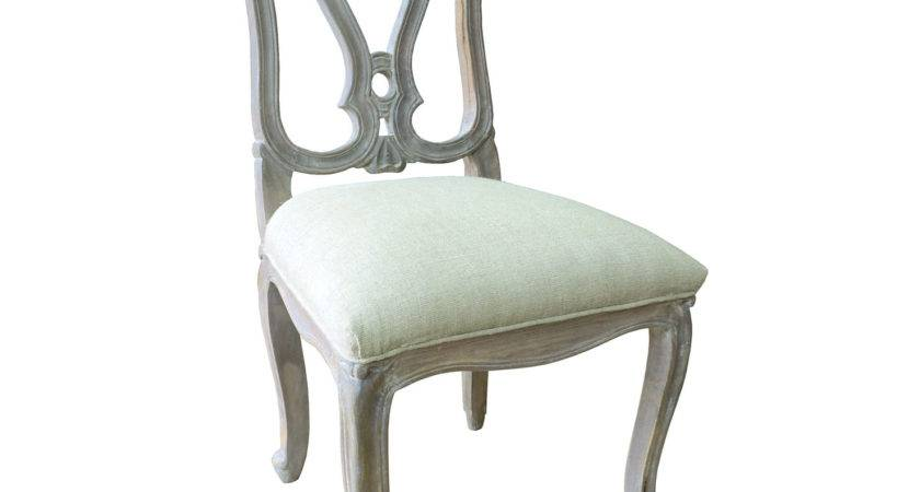 Wooden Chair White Distressed Finish Natural Linen Achica