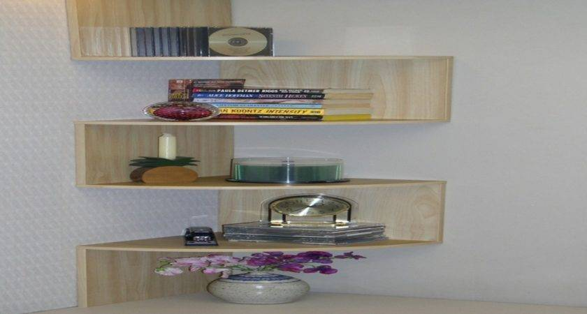 Wooden Glass Corner Rack Decorating Color Floating