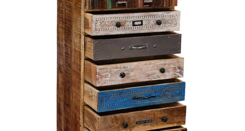 Wooden Patchwork Mango Wood Iron Top Drawer Accent Chest