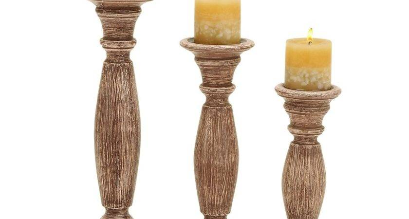 Woodland Imports Brown Rustic Wooden Candle Holder