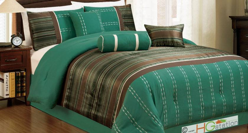 Woodland Jacquard Striped Embroidery Comforter Set