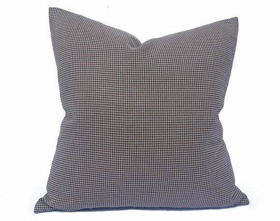 Wool Houndstooth Pillow Covers Masculine Pillows Tan Maroon