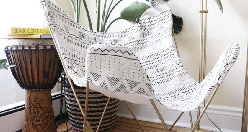 Xnasozi White Mudcloth Butterfly Chair Cover Frame