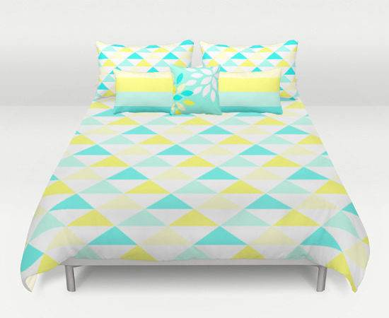Yellow Aqua Bedding Set King Queen Twin
