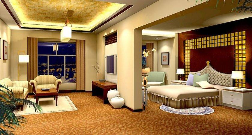 Yellow Bedroom Living Room Design Night Rendering