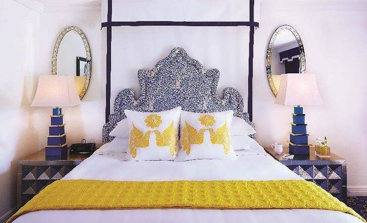 Yellow Blue Bedrooms Contemporary Bedroom