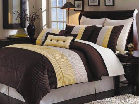 Yellow Brown Bedding Casual Look Bedroom Stripe