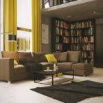 Yellow Brown Living Room Modern House