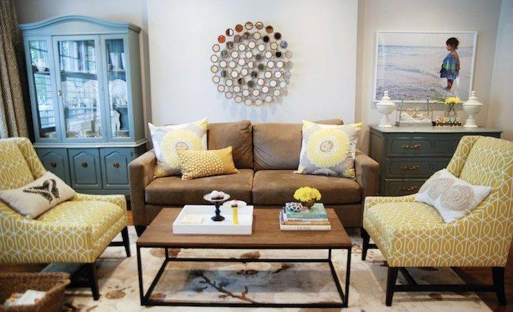 Yellow Brown Living Room Transitional