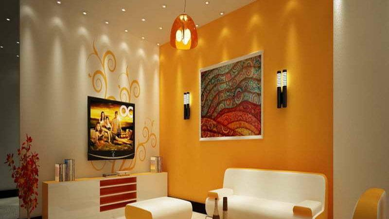 Yellow Gold Paint Color Living Room Modern House