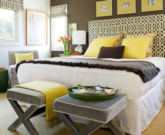 Yellow Gray Bedroom Contemporary Bhg