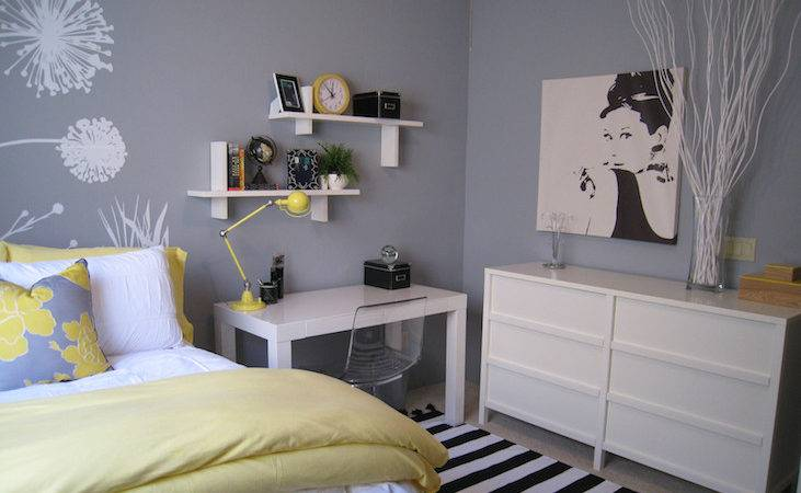 Yellow Gray Bedroom Contemporary