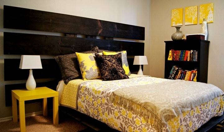 Yellow Gray Bedroom Living Small