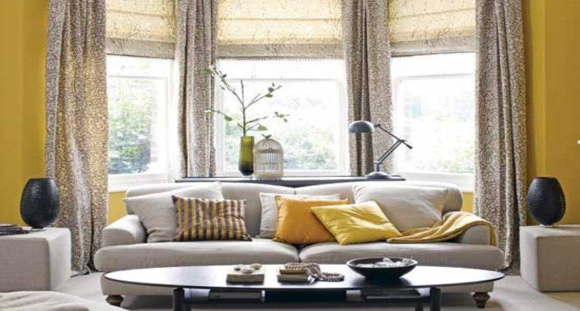 Yellow Gray Brown Living Room Modern House
