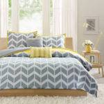 Yellow Gray Chevron Bedding