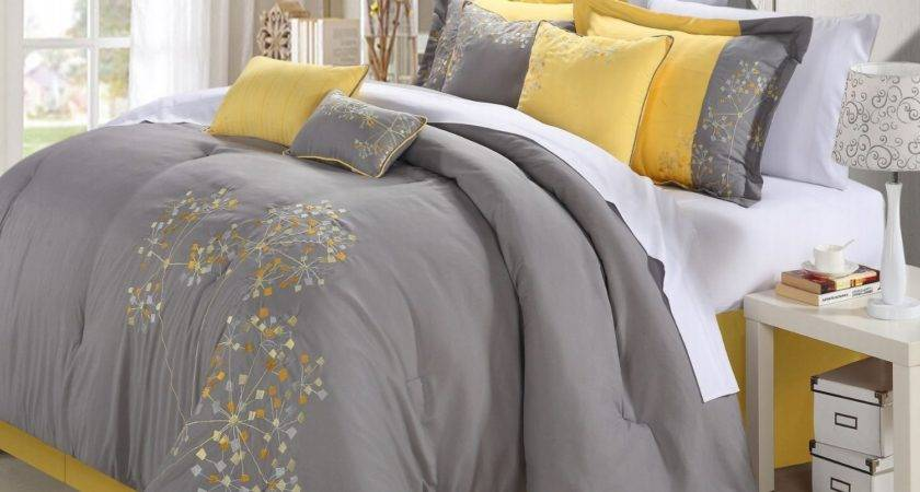 Yellow Gray Floral Bedding Myideasbedroom