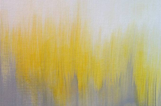 Yellow Gray Ikat Abstract Painting Paintings