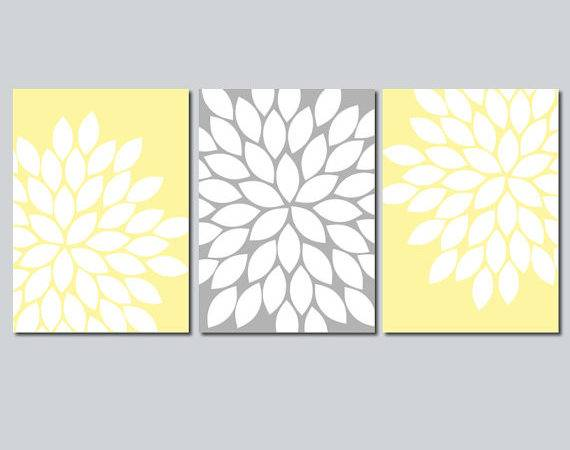 Yellow Gray Wall Art Bedroom Flower Canvas