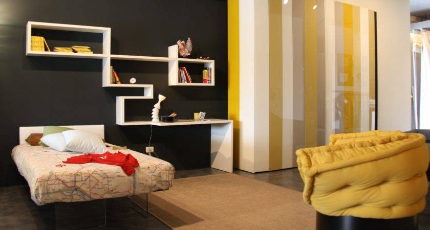 Yellow Grey Black Bedroom Interior Design Ideas