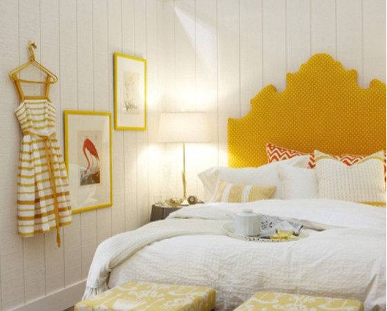 Yellow Headboard Bedroom Interior Design Ideas