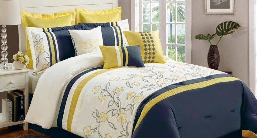 Yellow Navy Blue Bedding Ease Style