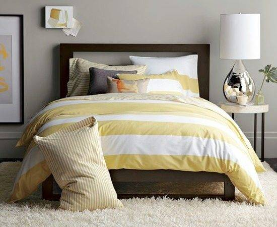 Yellow Striped Duvet Grey Walls Master Guest