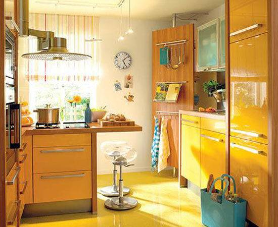 Yellow Turquoise Color Combination Small Kitchen