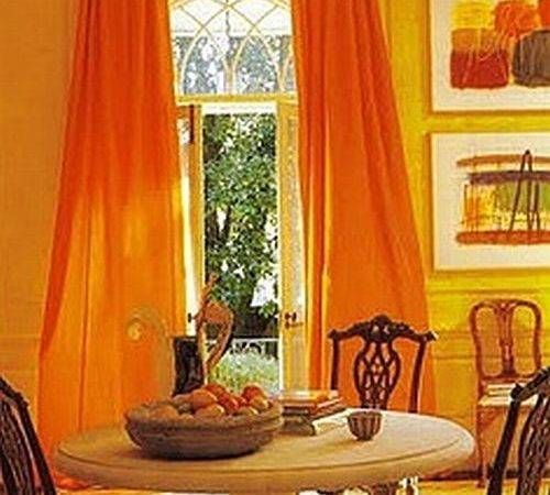 Yellow Walls Orange Curtains Curtain Menzilperde